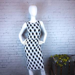 Norma Kamal Diamond Plaid Ruched Sheath Dress Sz S